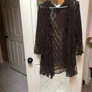 Jackets & Blazers - Brown lace jacket